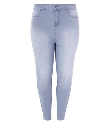Curves Grey High Waist Super Skinny Jeans New Look