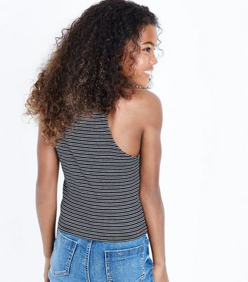 Teens Black Stripe High Neck Cami New Look