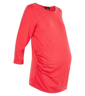 Maternity Red 3/4 Sleeve Ruched Side Top New Look
