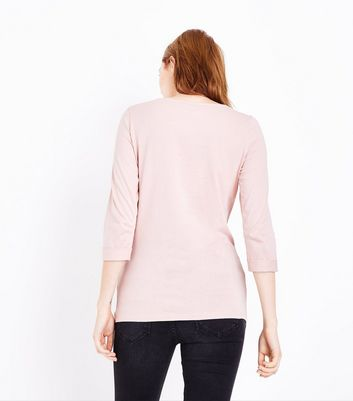 Maternity Pink 3/4 Sleeve Ruched Side Top New Look