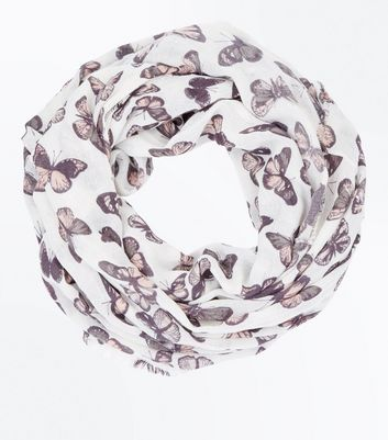 Cream Butterfly Print Snood New Look