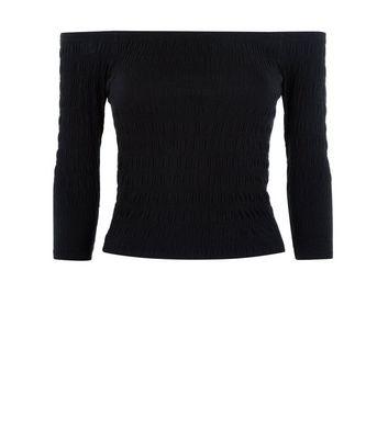 Teens Black Shirred 3/4 Sleeve Bardot Top New Look