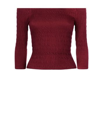 Teens Burgundy Shirred Bardot Neck Top New Look