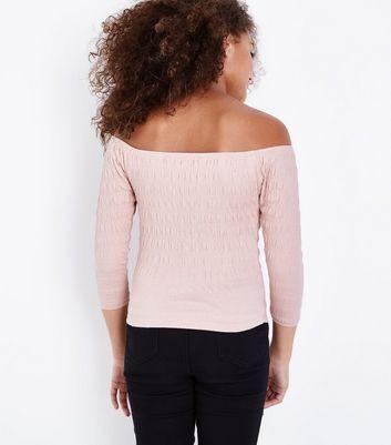 Teens Shell Pink Shirred 3/4 Sleeve Bardot Top New Look