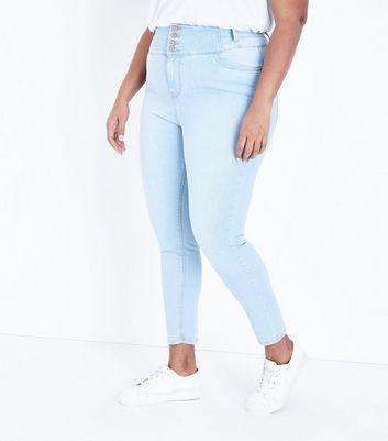 Curves Pale Blue High Waist Bleach Wash Jeans New Look