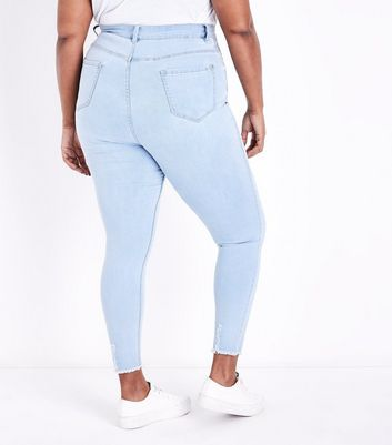 Curves Pale Blue Super Soft Super Skinny Ripped Jeans New Look