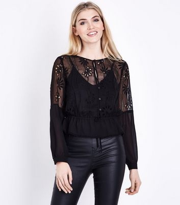 Black Floral Cut Out Tie Neck Blouse New Look