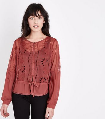 Rust Floral Cut Out Tie Front Blouse New Look