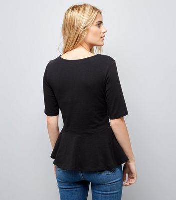 Black 1/2 Sleeve Peplum Hem Top New Look