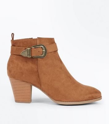Tan Suedette Western Buckle Strap Heeled Boots New Look