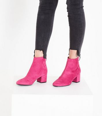 Bright Pink Suedette Block Heel Ankle Boots New Look