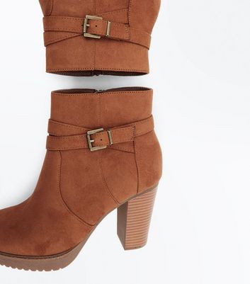 Tan Suedette Strap Side Wooden Heel Boots New Look
