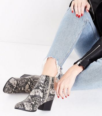 Black Faux Snakeskin Heeled Western Ankle Boots New Look