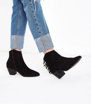 Black Fringe Side Heeled Western Ankle Boots New Look