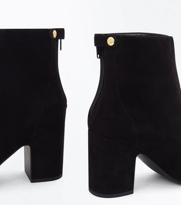 Black Suedette Popper Zip Back Heeled Boots New Look