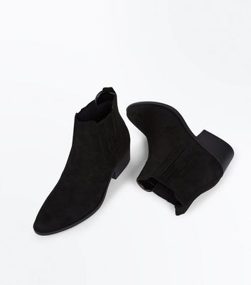 Black Suedette Stitch Side Western Boots New Look