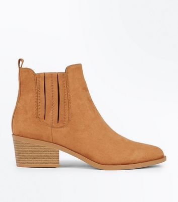 Tan Suedette Stitch Side Western Boots New Look