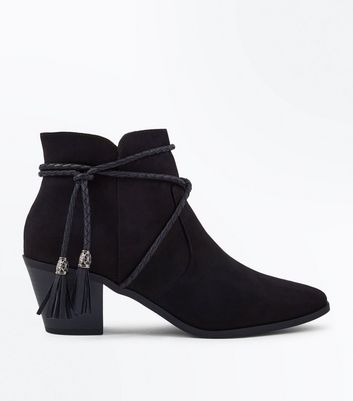 Black Suedette Rope Tie Western Ankle Boots New Look