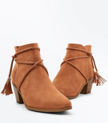Tan Suedette Rope Tie Western Ankle Boots New Look