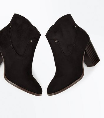 Black Suedette Square Toe Heeled Western Boots New Look