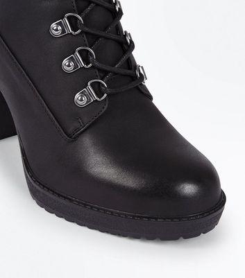 Black Block Heel Hiker Boots New Look