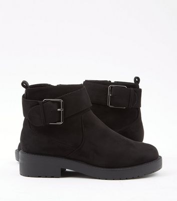 Black Suedette Chunky Cleated Sole Ankle Boots New Look