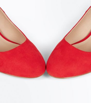 Red Suedette Round Toe Ankle Strap Courts New Look