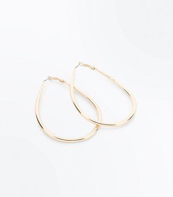 Gold Tear Drop Hoop Earrings New Look