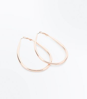 Rose Gold Tear Drop Hoop Earrings New Look