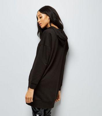 Black Pocket Front Longline Hoodie New Look
