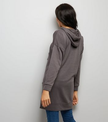 Dark Grey Pocket Front Longline Hoodie New Look