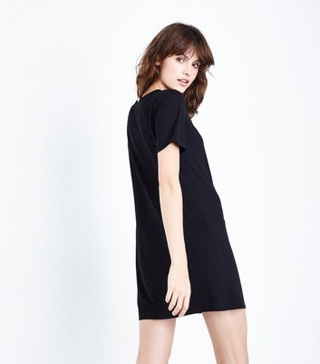 Black Ruched Tie Side Tunic Dress New Look