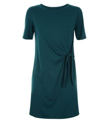 Khaki Ruched Tie Side Tunic Dress New Look
