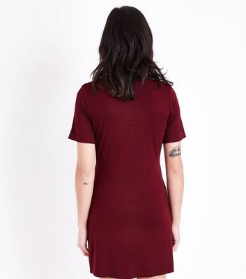 Burgundy Ruched Tie Side Tunic Dress New Look