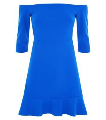 Blue Bardot Neck Frill Hem Dress New Look