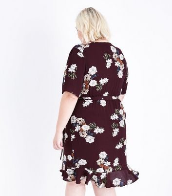 Curves Burgundy Floral Frill Trim Wrap Dress New Look