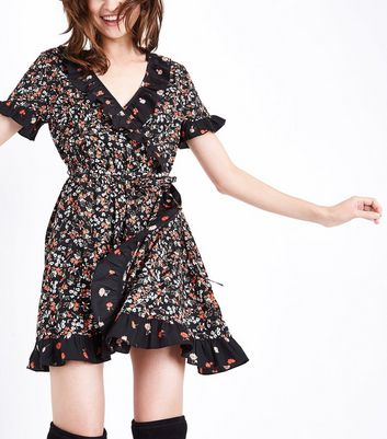 Black Contrast Floral Frill Trim Wrap Dress New Look