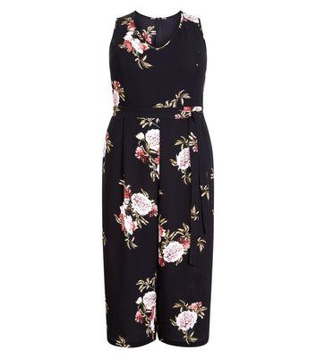 Curves Black Floral V Neck Culotte Jumpsuit New Look