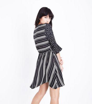 Black Spot and Stripe Wrap Dress New Look
