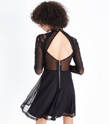Black Mesh and Lace Keyhole Back Skater Dress New Look