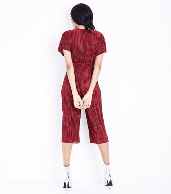 Dark Red Plisse Wrap Front Culotte Jumpsuit New Look