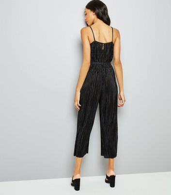 Black Plisse High Neck Jumpsuit New Look