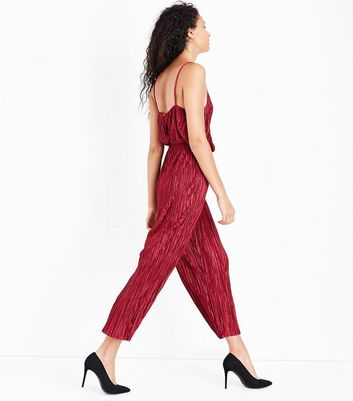 Red Plisse High Neck Jumpsuit New Look