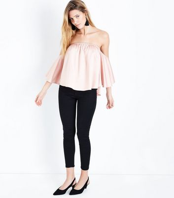 Shell Pink Satin Cape Sleeve Bardot Top New Look