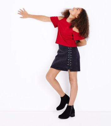Teens Red Scuba Cold Shoulder Top New Look