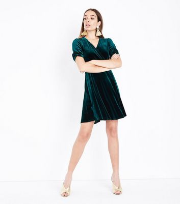 Dark Green Velvet Wrap Dress New Look