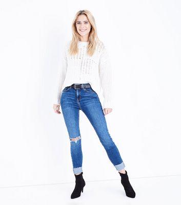 Blue Ripped Knee Turn Up Hem Skinny Jenna Jeans New Look