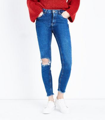 Bright Blue Ripped Knee Skinny Jenna Jeans New Look
