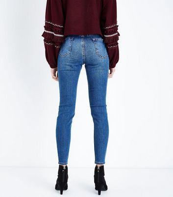 Blue Ripped Knee Skinny Jenna Jeans New Look