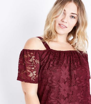 Curves Burgundy Lace Bardot Neck Top New Look